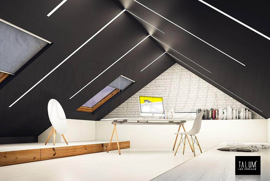 Конструкция линейного светильника TALUM WP50.50n сделана таким образом, что Вы не увидите в потолке сам профиль — только свет!