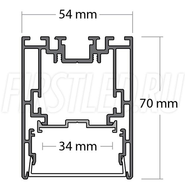 Чертеж (схема) светодиодного алюминиевого профиля TALUM WP54.70n