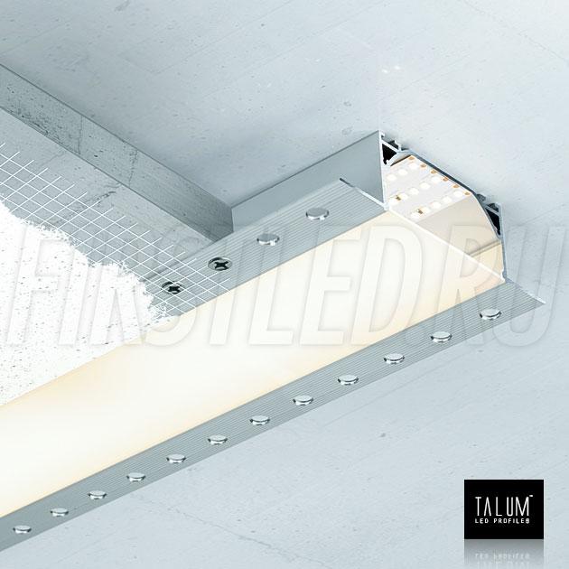 Встраиваемый алюминиевый профиль без рамок TALUM WP72.36n - с помощью боковых фланцев профиль легко закрепляется шурупами к черновому потолку, затем все закрывается шпатлевкой