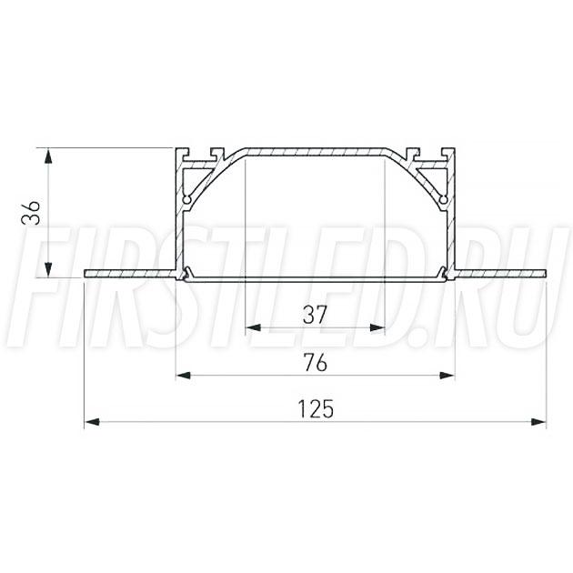 Чертеж (схема) встраиваемого светодиодного алюминиевого профиля TALUM WP72.36n