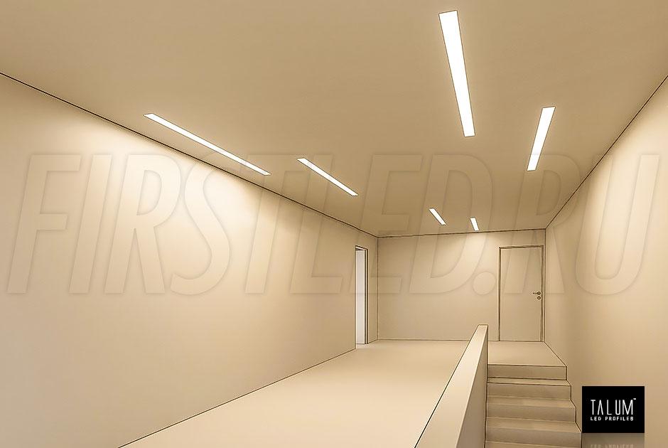 Широкая световая линия на потолке которая освещает интерьер? Это встраиваемый безрамочный светодиодный профиль TALUM WP74.77n.