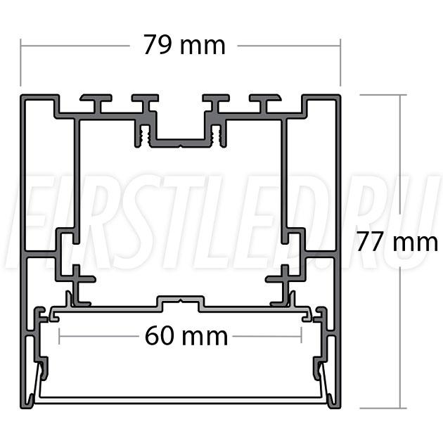 Чертеж (схема) светодиодного алюминиевого профиля TALUM WP79.77n