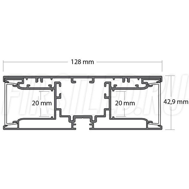 Чертеж (схема) светодиодного профиля TALUM W128.43