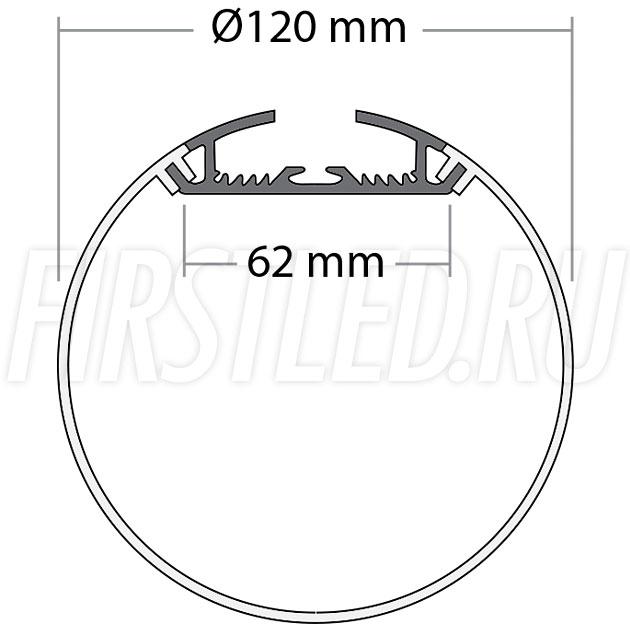 Чертеж (схема) накладного светодиодного алюминиевого профиля TALUM PD.120