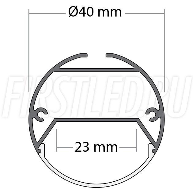 Чертеж (схема) накладного светодиодного алюминиевого профиля TALUM PD.40