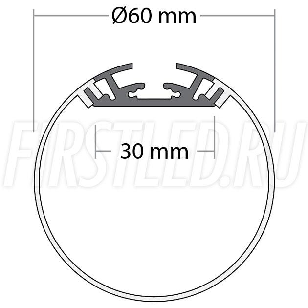 Чертеж (схема) накладного светодиодного алюминиевого профиля TALUM PD.60