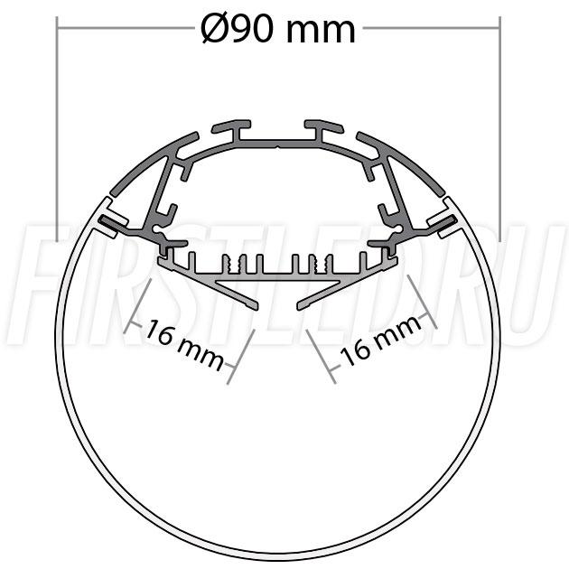 Чертеж (схема) светодиодного алюминиевого профиля TALUM PD.90