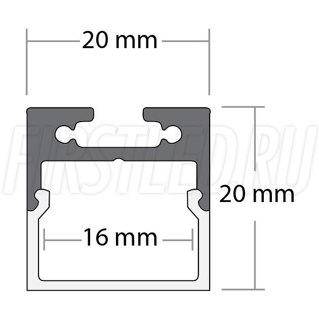 Чертеж (схема) подвесного светодиодного алюминиевого профиля TALUM WP20.20K/C