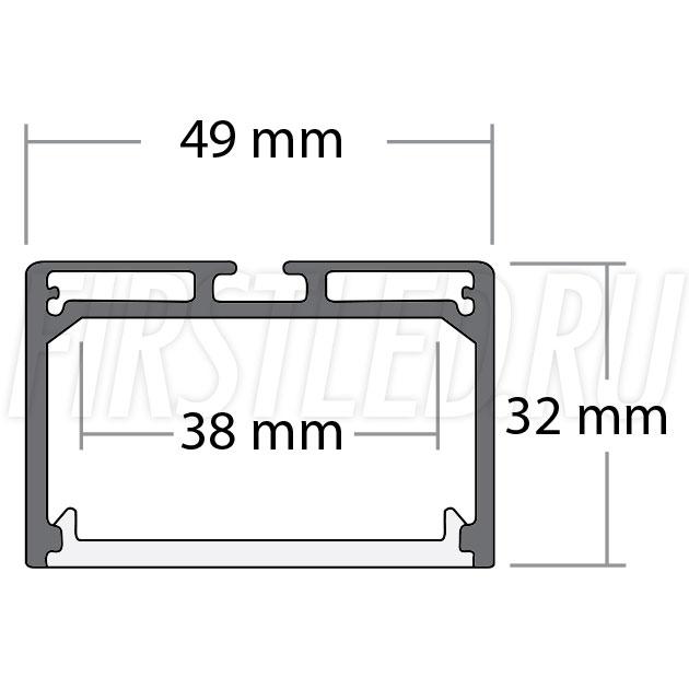 Чертеж (схема) подвесного светодиодного алюминиевого профиля TALUM WP49.32