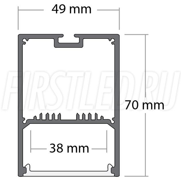Чертеж (схема) подвесного светодиодного алюминиевого профиля TALUM WP49.70