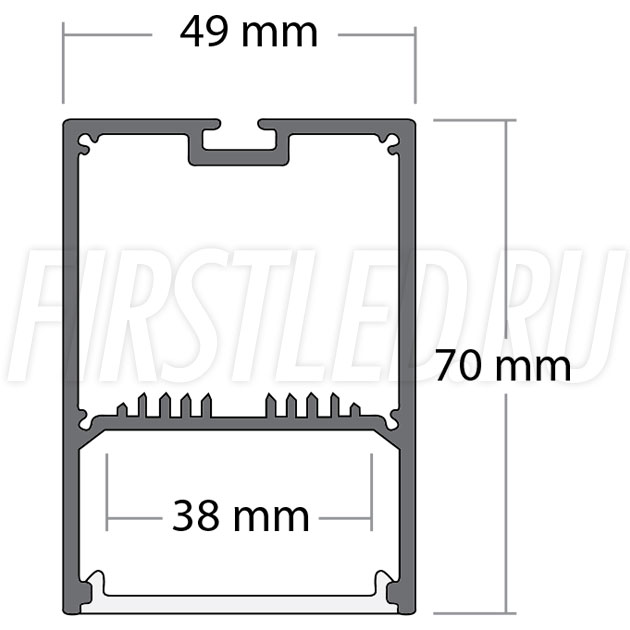 Чертеж (схема) накладного светодиодного алюминиевого профиля TALUM WP49.70