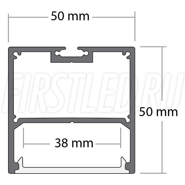 Чертеж (схема) подвесного светодиодного алюминиевого профиля TALUM WP50.50