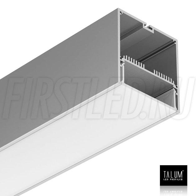 Светодиодный алюминиевый профиль TALUM WP74.77 (анодированный) вместе с рассеивателем