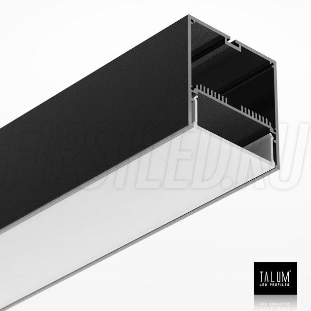 Светодиодный алюминиевый профиль TALUM WP74.77 BLACK (черный) вместе с рассеивателем