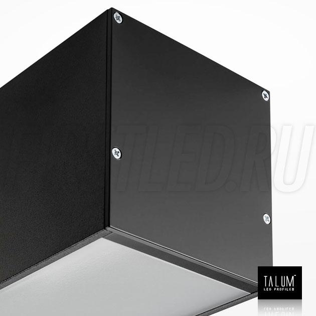 Светодиодный алюминиевый профиль TALUM WP74.77 BLACK (черный) вместе с рассеивателем и заглушками