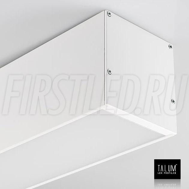 Светодиодный алюминиевый профиль TALUM WP74.77 WHITE (белый) вместе с рассеивателем и заглушками