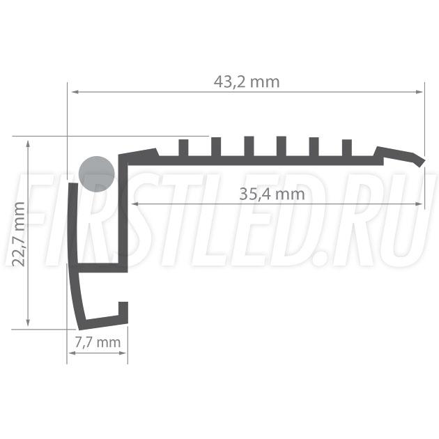Чертеж (схема) светодиодного профиля TALUM STEP43.23