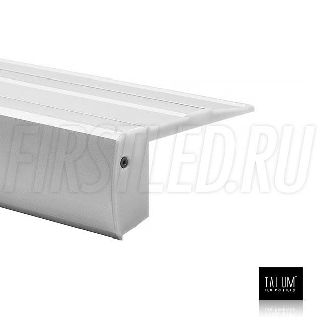 Профиль для ступенек TALUM STEP81.40 с антискользящими вставками, матовым рассеивателем и заглушкой