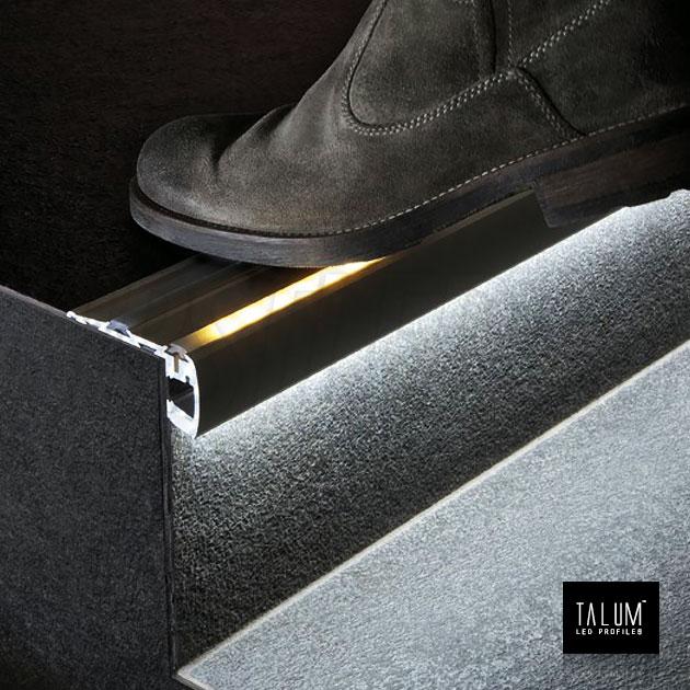 Профиль для ступенек TALUM STEP81.40 подсветка снизу и сверху