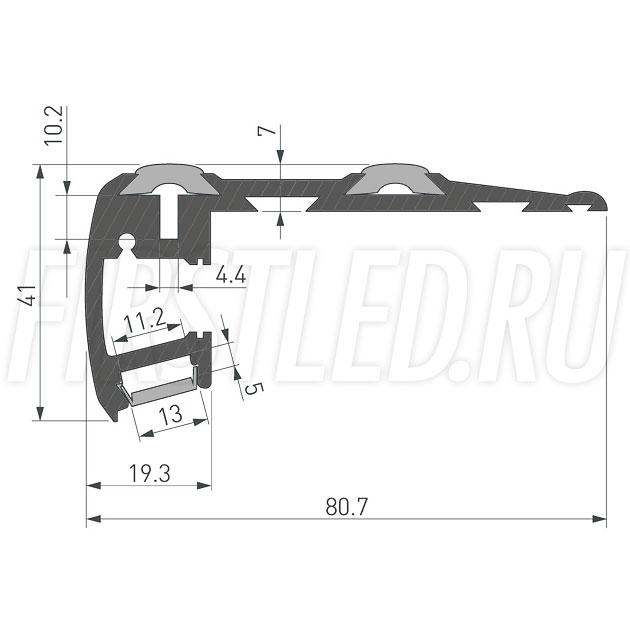 Чертеж (схема) светодиодного профиля TALUM STEP81.40