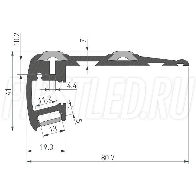 Чертеж (схема) светодиодного алюминиевого профиля TALUM STEP81.40