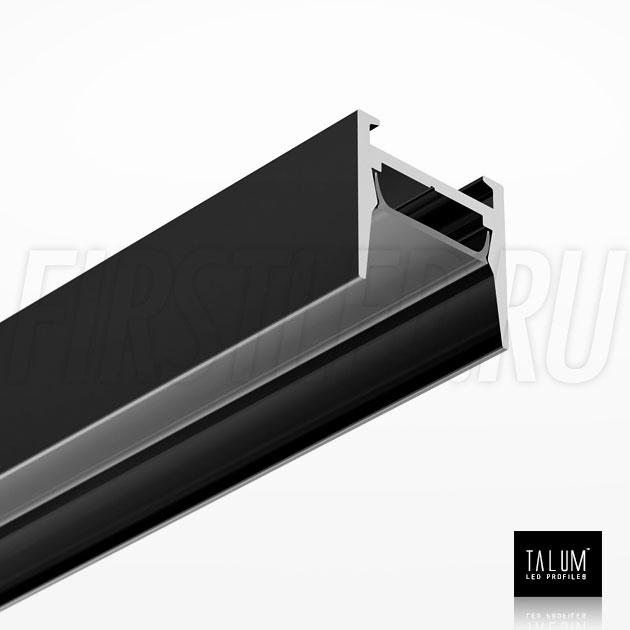 Накладной алюминиевый профиль TALUM HIDE W16.15 BLACK (черный) вместе с черным матовым рассеивателем