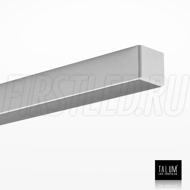Накладной алюминиевый профиль TALUM HIDE W16.15 вместе с матовым рассеивателем и заглушкой