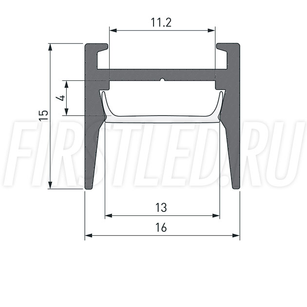Чертеж (схема) светодиодного профиля TALUM HIDE W16.15