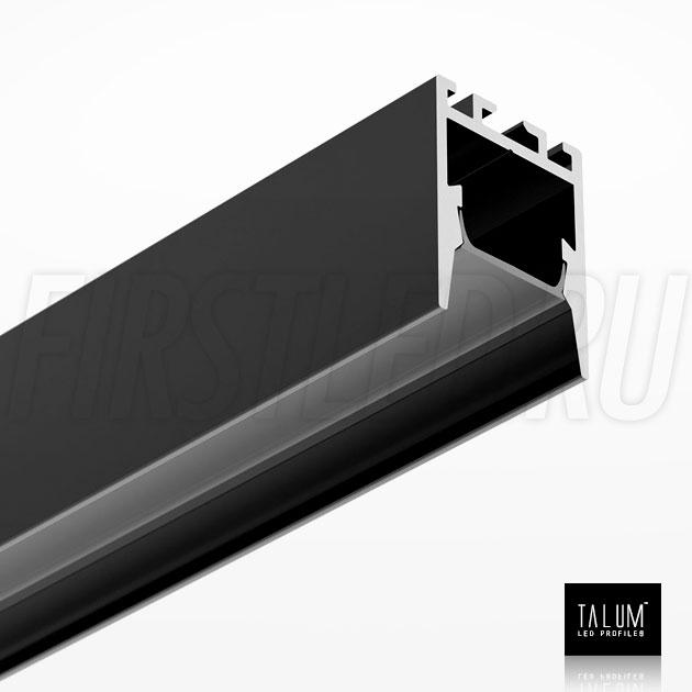 Накладной / подвесной алюминиевый профиль TALUM HIDE WP16.22 BLACK (черный) вместе с черным матовым рассеивателем