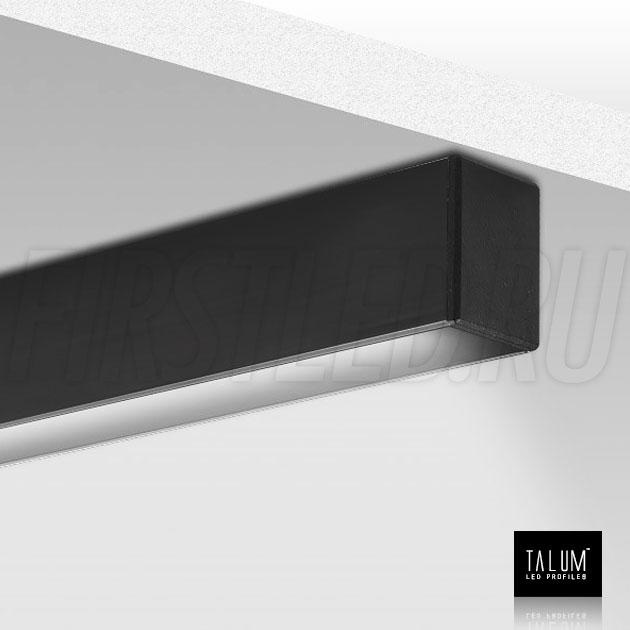 Накладной / подвесной алюминиевый профиль TALUM HIDE WP16.22 BLACK (черный) во включенном состоянии
