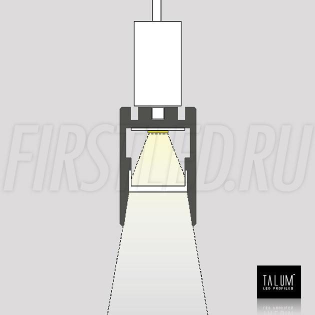 Накладной / подвесной алюминиевый профиль TALUM HIDE WP16.22 схематично