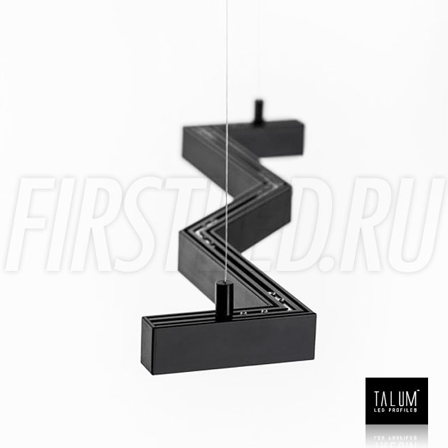 Подвесной алюминиевый профиль TALUM HIDE WP16.22 BLACK (черный) вместе с черным матовым рассеивателем на подвесах