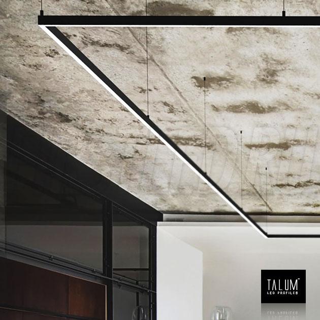 Подвесной алюминиевый светодиодный профиль TALUM HIDE WP16.22 BLACK (черный) в интерьере