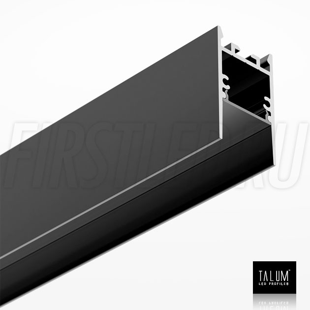 Накладной / подвесной алюминиевый профиль TALUM HIDE WP25.42 BLACK (черный) вместе с черным матовым рассеивателем