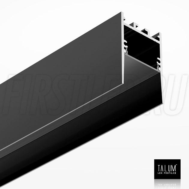 Накладной / подвесной алюминиевый профиль TALUM HIDE WP35.51 BLACK (черный) вместе с черным матовым рассеивателем