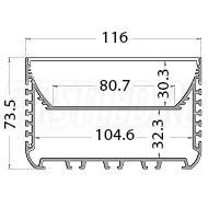 Чертеж (схема) светодиодного профиля TALUM W116.74