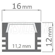Чертеж (схема) светодиодного алюминиевого профиля TALUM W16.12