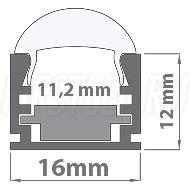 Чертеж (схема) светодиодного профиля TALUM W16.12G