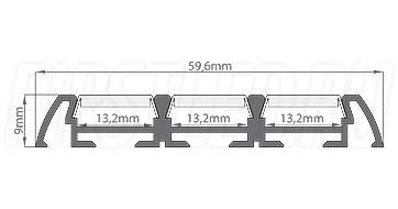 Чертеж (схема) светодиодного алюминиевого профиля TALUM W59.9