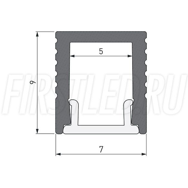 Чертеж (схема) накладного светодиодного алюминиевого профиля TALUM W7.9