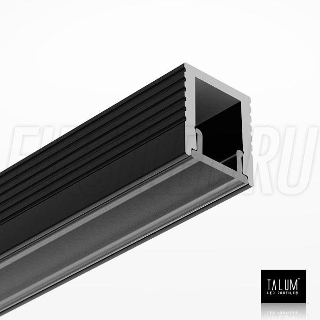 Накладной алюминиевый профиль TALUM W7.9 BLACK (черный) вместе с черным матовым рассеивателем
