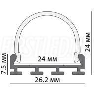 Чертеж (схема) светодиодного профиля TALUM WP26.24C