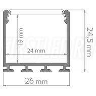 Чертеж (схема) светодиодного алюминиевого профиля TALUM WP26.25