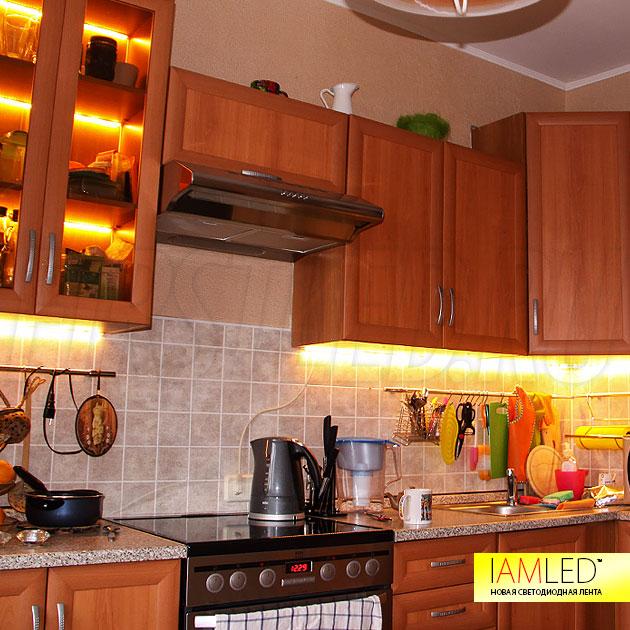 Подсветка рабочей зоны на кухне и полок в шкафу с помощью матовой светодиодной ленты IAMLED MATTED MONO