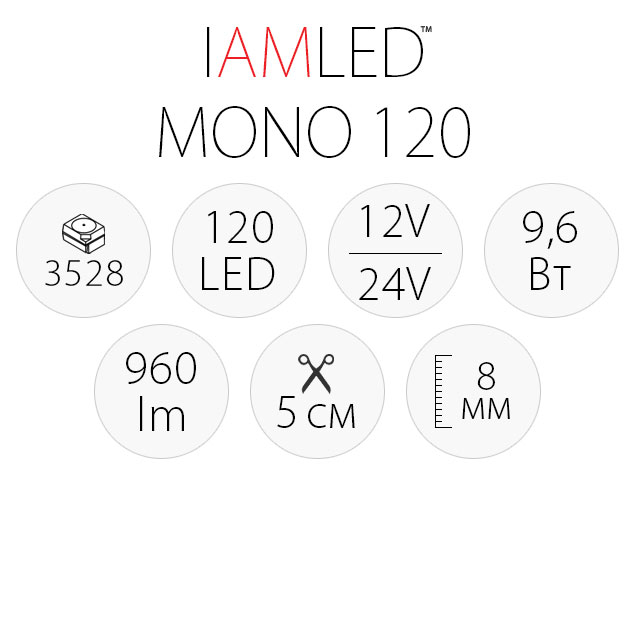 Светодиодная лента IAMLED MONO 120, характеристики