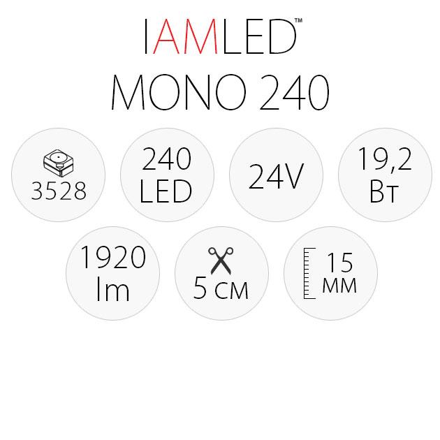 Светодиодная лента IAMLED MONO 240, характеристики