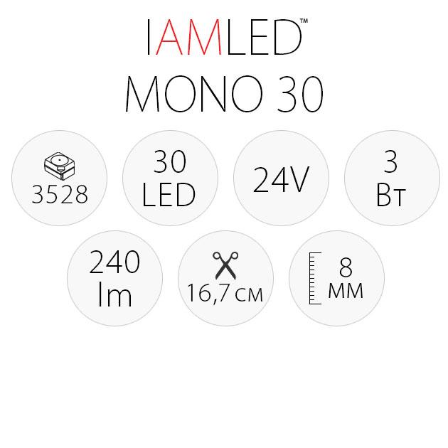 Светодиодная лента IAMLED MONO 30, характеристики