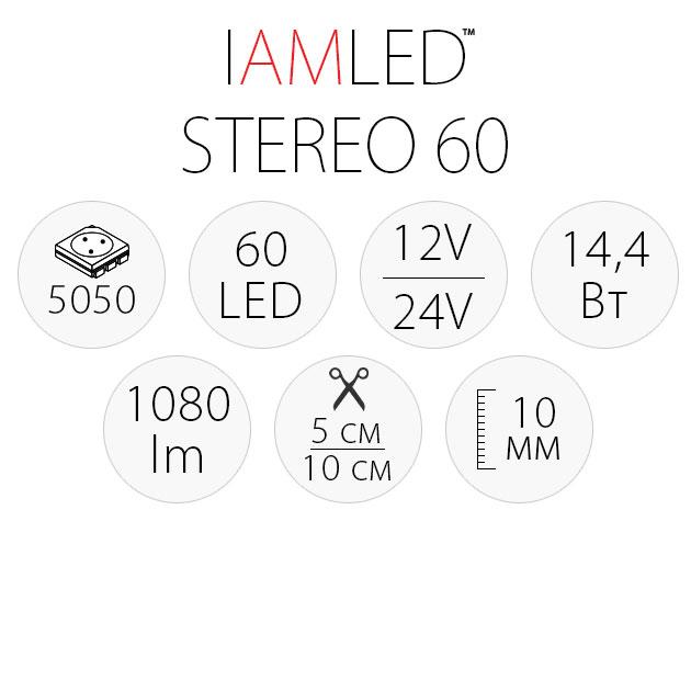 Светодиодная лента IAMLED STEREO 60, характеристики