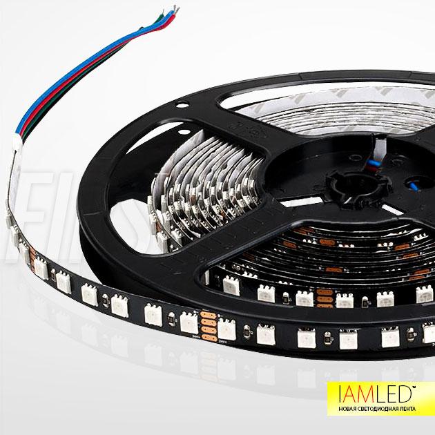 Многоцветная светодиодная лента IAMLED RGB 84 на черной печатной плате для темных поверхностей