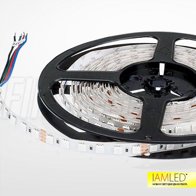 Многоцветная светодиодная лента IAMLED RGB 84 на белой печатной плате для светлых поверхностей
